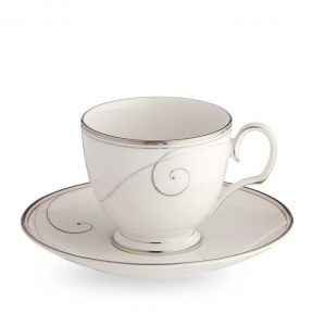 Platinum Wave Tea Cup & Saucer Set