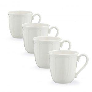 Baroque White Mug Set of 4