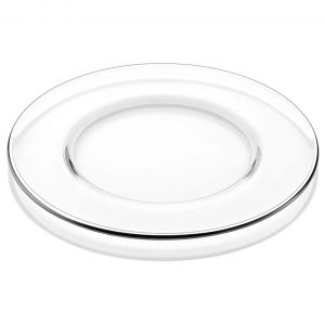 Aria Clear Charger Plate with Platinum Band