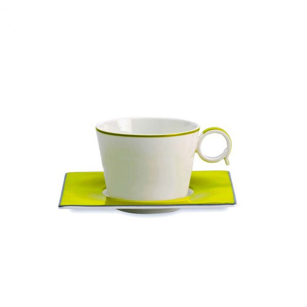 Contempo Verde Tea Cup and Saucer Set