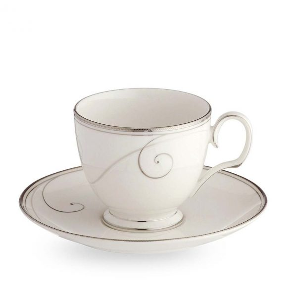 Platinum Wave Cup & Saucer Set (Giftboxed)